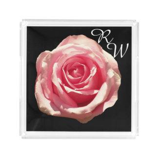 Monogramm-rosa Rosen-Parfüm-Behälter Acryl Tablett