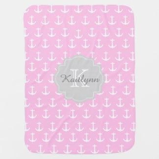 Monogramm-rosa Seeanker-Muster-Baby-Decke Baby-Decken