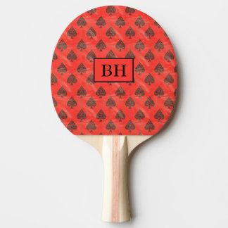 Monogramm-rotes Spaten-Klingeln Pong Paddel Tischtennis Schläger