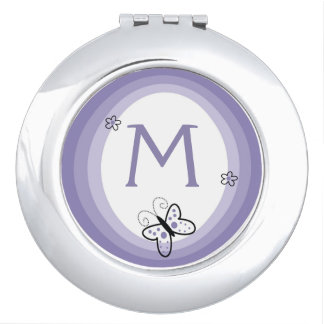 Monogramm-Schmetterlings-Lavendel Schminkspiegel