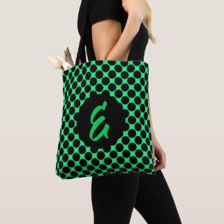 Monogramm-schwarze Tupfen auf Kiwi-Grün Tasche