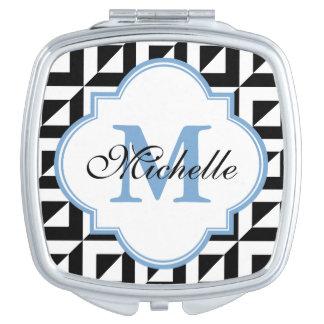 Monogramm-schwarzer blauer weißer moderner taschenspiegel