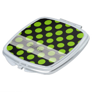 Monogramm-schwarzes grünes schickes Tupfen-Muster Taschenspiegel