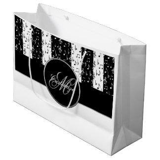 Monogramm-schwarzes u. weißes Musical Stripes Große Geschenktüte
