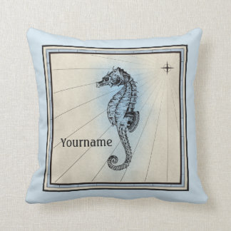 Monogramm-Seepferd-Vintager blauer Seekompaß Kissen
