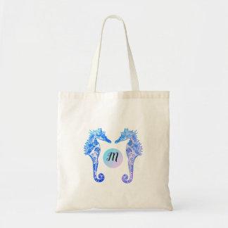Monogramm-Seepferd-wunderliche personalisierte Tragetasche