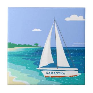 Monogramm-Segelboot-tropische Keramik-Küstenfliese Keramikfliese