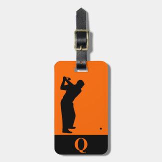 Monogramm-Sport-Schwarz-orange Golf-Gepäck-Reise Kofferanhänger