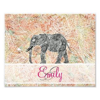 Monogramm-Stammes- Paisley-Elefant-bunter Fotografische Drucke