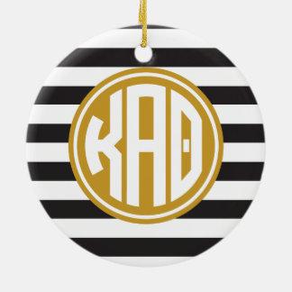 Monogramm-Streifen-Muster des Kappa-Alpha Theta-| Keramik Ornament