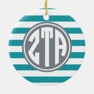 Monogramm-Streifen-Muster Zetatau-Alpha-| Keramik Ornament