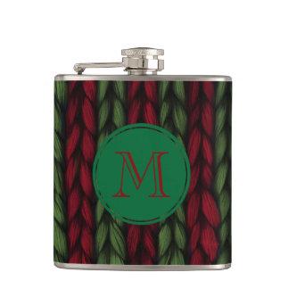 Monogramm-Strick rot und grün Flachmann