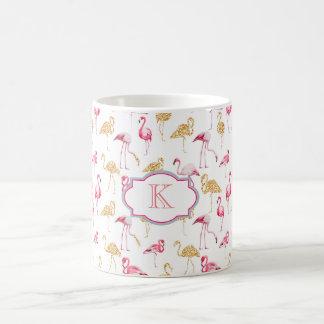 Monogramm-Tasse. Flamingodruck Kaffeetasse