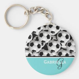 Monogramm-Türkis-Schwarz-Fußball-Muster Schlüsselanhänger