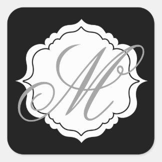 Monogramm-Umschlag Quadratischer Aufkleber
