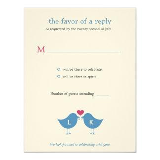 Monogramm-Vögel, die RSVP/Response Karte Wedding 10,8 X 14 Cm Einladungskarte