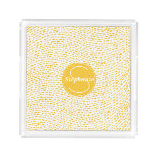 Monogramm-weiße und gelbe Schläge Acryl Tablett