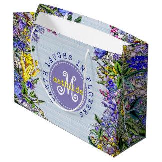 Monogramm-Wildblumen-Vintage lila gelbe Blumen Große Geschenktüte
