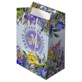 Monogramm-Wildblumen-Vintage lila gelbe Blumen Mittlere Geschenktüte