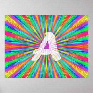 Monogramme A d'éclat d'arc-en-ciel Posters