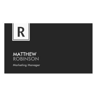 Monogramme chic - noir et blanc moderne carte de visite standard