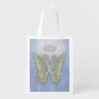 Monogramme d'ange de la lettre X Sac D'épicerie