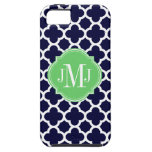 Monogramme de motif de bleu marine et de blanc de  coques Case-Mate iPhone 5