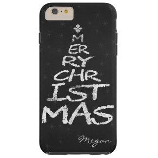 Monogramme de tableau d'arbre de Noël de JOYEUX Coque Tough iPhone 6 Plus