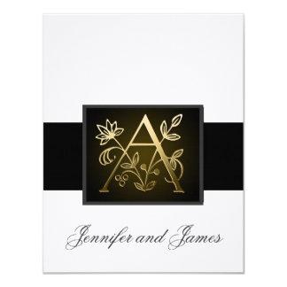 Monogramme élégant de noir d'or une carte faire-part personnalisé