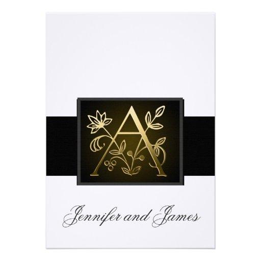 Monogramme élégant d'or un faire-part de mariage