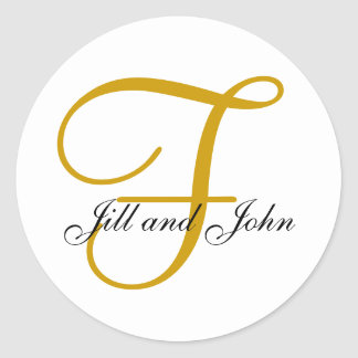Monogramme F de mariage plus l autocollant d or de