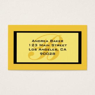 monogramme jaune cartes de visite