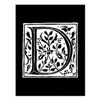 Monogramme noir et blanc de monogramme vintage de carte postale