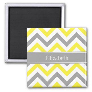 Monogramme nommé gris gris jaune d'atterrisseur magnet carré