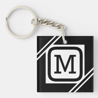 Monogramme rayé par carré simple noir et blanc