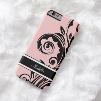 Monogramme rose floral coque iPhone 6 barely there