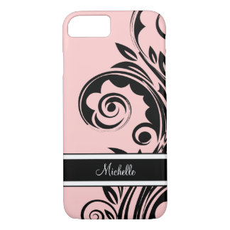 Monogramme rose floral coque iPhone 7