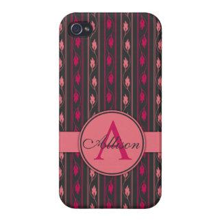 Monogramme rose floral de cas de l iPhone 5 Coque iPhone 4