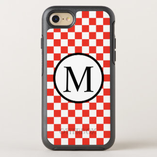 Monogramme simple avec le damier rouge coque otterbox symmetry pour iPhone 7
