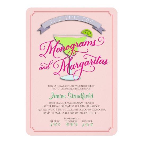 Monogramme u. Margaritas-Brautparty-Einladung 12,7 X 17,8 Cm Einladungskarte