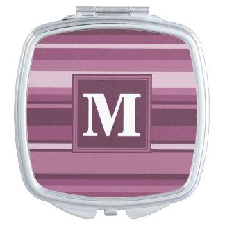 Monogrammmalvenfarbenstreifen Schminkspiegel