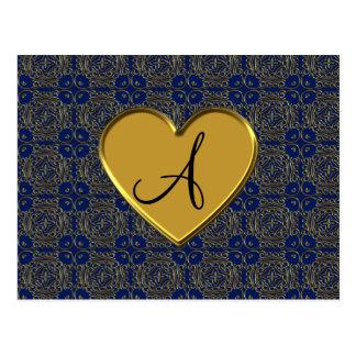 Monogrammmarineblau-Goldmarokkanerdamast Postkarte