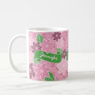 Monogrammrosa Clematis-Grün-Fahnen-Japan-Kimono Kaffeetasse