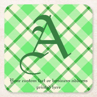 Monogrammtartan-karierter grünen St Patrick Tag Kartonuntersetzer Quadrat