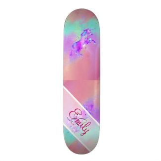 MonogrammUnicornniedliche rosa aquamarine lila Individuelle Skatedecks