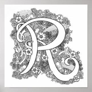 Monogrammverwicklungs-Kunstfarbton des Buchstaben Poster
