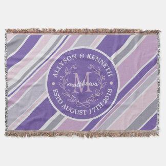 Monogrammwreath-Trendy Streifen-lila Blatt-Lorbeer Decke