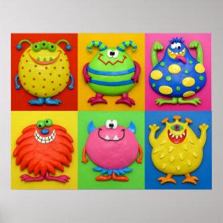 Monster-Baby-Jungen-Duschen-Kinderzimmer Poster