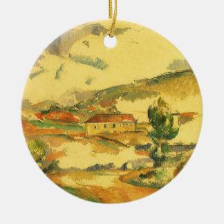 Mont Sainte Victoire durch Paul Cezanne, Vintage Rundes Keramik Ornament
