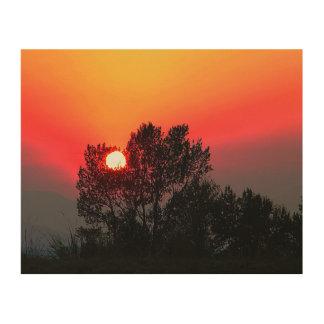Montana-Sonnenuntergang Holzleinwand